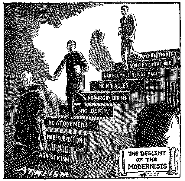 Descent_of_the_Modernists,_E._J._Pace,_Christian_Cartoons,_1922 (public domain)_612px_BWind