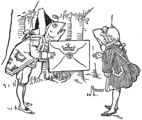 toad in fancy hat and coat delivering a sealed letter to a caped toad