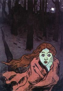 painting of woman showing fear