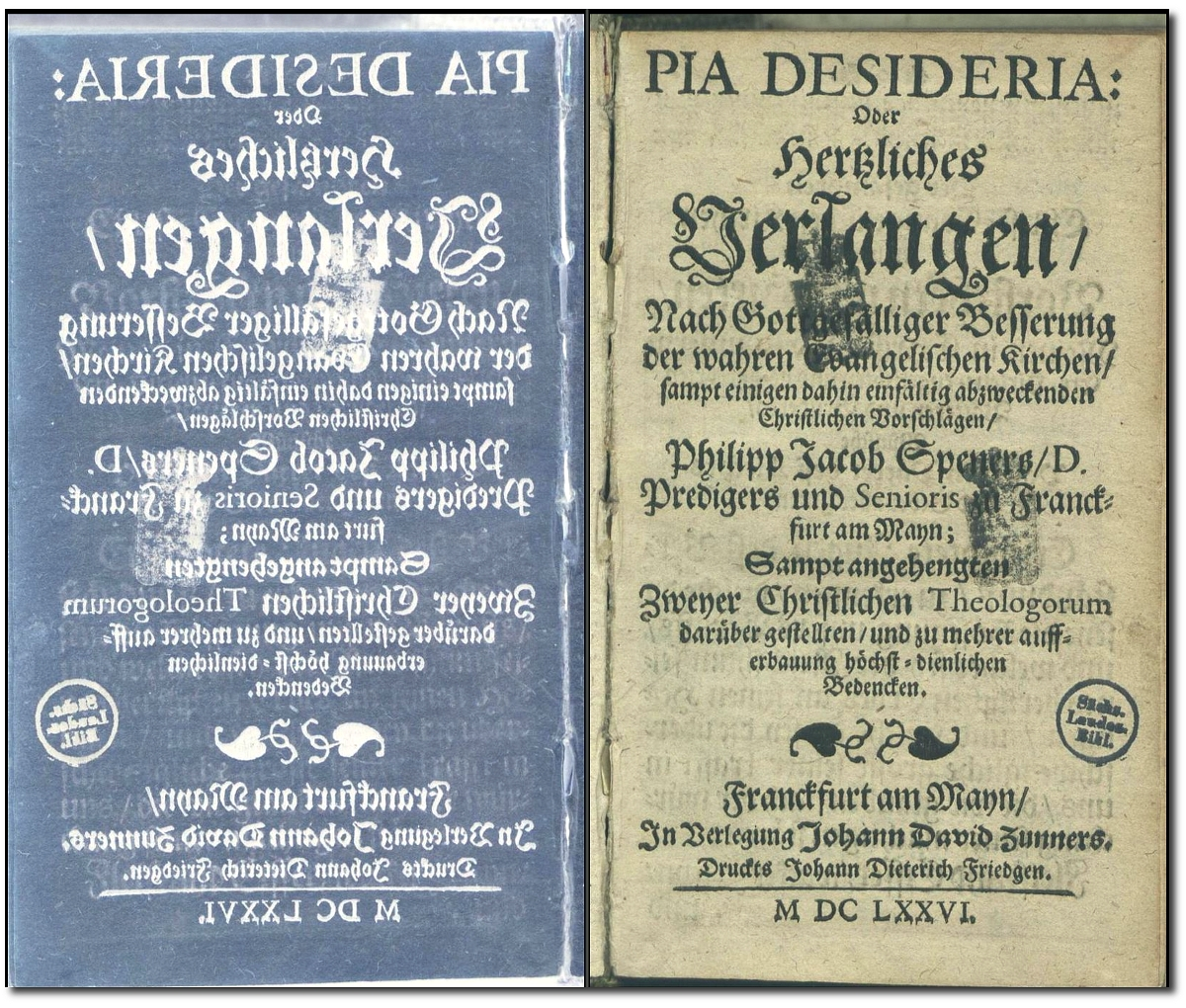 German title page of Spener's Pia Desideria