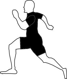 Abstracted side view of man running.