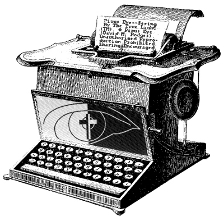image of site displayed on classic typewriter page