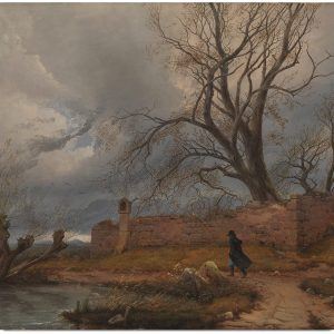 Wanderer in the Storm (1835), by Julius von Leypold (Public domain)